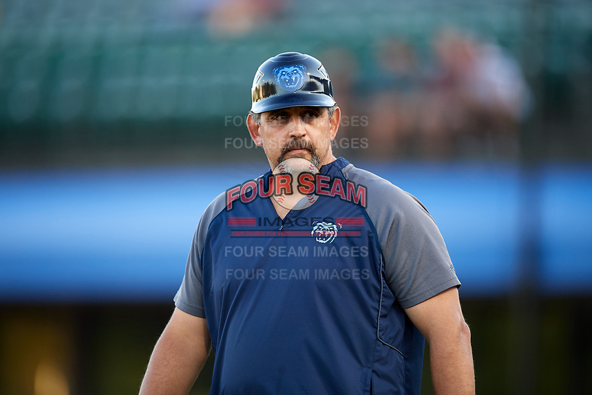Mobile BayBears manager Sal Fasano (33) during a game against the Pensacola Blue Wahoos on April 25, 2017 at Hank Aaron Stadium in Mobile, Alabama.  Mobile defeated Pensacola 3-0.  (Mike Janes/Four Seam Images)