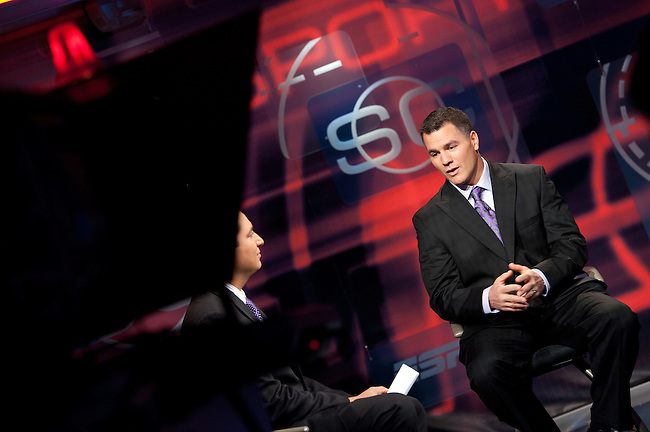 January  12, 2012 - Bristol, CT - SportsCenter:  Kevin Negandhi (L) with Indianapolis Colts Kicker, Adam Vinatieri. ..Credit: Joe Faraoni/ESPN