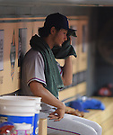 Yu Darvish (Rangers),<br /> AUGUST 9, 2014 - MLB : Yu Darvish of the Texas Rangers sits in the dugout during the Major League Baseball game against the Houston Astros at Minute Maid Park in Houston, Texas, USA.<br /> (Photo by AFLO)