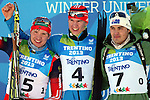From left, Sergei Kliachin, Aleksandr Pechenkin, Alexei Almoukov,athletes at the podium of the Men 12.5 km pursuit Biathlon race as part of the Winter Universiade Trentino 2013 on 16/12/2013 in Lago Di Tesero, Italy.<br /> <br /> &copy; Pierre Teyssot - www.pierreteyssot.com