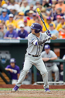 TCU Horned Frogs third baseman Derek Odell (5) at bat against the LSU Tigers in the NCAA College World Series on June 14, 2015 at TD Ameritrade Park in Omaha, Nebraska. TCU defeated LSU 10-3. (Andrew Woolley/Four Seam Images)