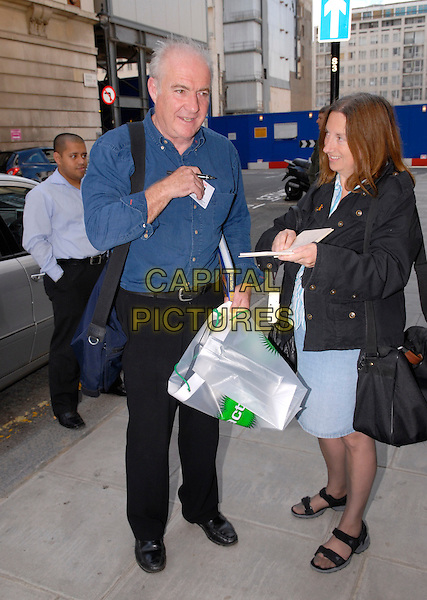 RICK STEIN.Arriving at Radio 2,.London, England, 15th October 2007..full length blue shirt Visitors pass badge.CAP/IA.©Ian Allis/Capital Pictures