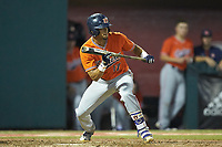 Will Holland (17) of the Auburn Tigers squares to bunt against the Army Black Knights at Doak Field at Dail Park on June 2, 2018 in Raleigh, North Carolina. The Tigers defeated the Black Knights 12-1. (Brian Westerholt/Four Seam Images)