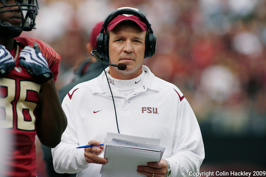 TALLAHASSEE, FL 11/21/09-FSU-MARY FB09 CH38-Florida State Offensive Coordinator Jimbo Fisher ponders the next call against Maryland during first half action Saturday at Doak Campbell Stadium in Tallahassee. .COLIN HACKLEY PHOTO