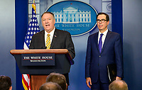 "United States Secretary of State Mike Pompeo and US Secretary of the Treasury Steven T. Mnuchin brief reporters on US President Trump's Executive Order titled ""Modernizing and Expanding Sanctions to Combat Terrorism"" in the Brady Briefing Room of the White House in Washington, DC on Tuesday, September 10, 2019.<br /> CAP/MPI/RS<br /> ©RS/MPI/Capital Pictures"