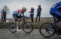 Later race winner Bob Jungels (LUX/Deceuninck-Quick Step) up the Oude Kwaremont.  <br /> <br /> 71st Kuurne-Brussel-Kuurne (2019)<br /> Kuurne > Kuurne 201km (BEL)<br /> <br /> ©kramon