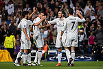 Gareth Bale of Real Madrid celebrates with teammates during the 2016-17 UEFA Champions League match between Real Madrid and Legia Warszawa at the Santiago Bernabeu Stadium on 18 October 2016 in Madrid, Spain. Photo by Diego Gonzalez Souto / Power Sport Images