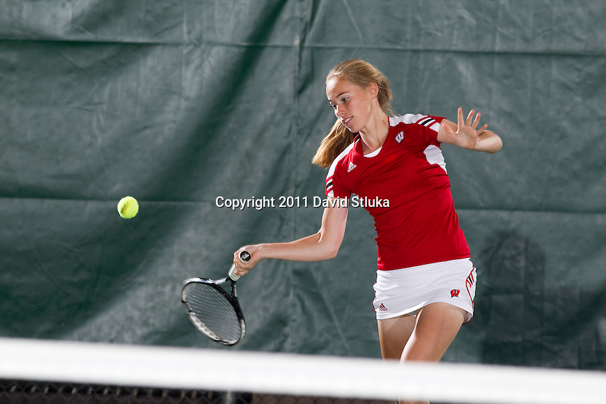 Wisconsin Badgers Sarah Loebel hits the ball during a photo shoot at the Nielsen Tennis Center on September 26, 2011. (Photo by David Stluka).