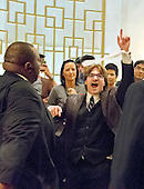 """A lone protestor screaming """"Trump is a fascist"""" in the lobby of the Mayflower Hotel in Washington, DC prior to the arrival of Donald J. Trump, a candidate for the Republican nomination for President of the United States on Wednesday, April 27, 2016.  Trump will deliver a major speech on foreign policy.<br /> Credit: Ron Sachs / CNP"""