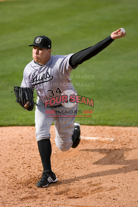 Starting pitcher Graham Taylor #34 of the Jacksonville Suns in action versus the Carolina Mudcats at Five County Stadium May 18, 2009 in Zebulon, North Carolina. (Photo by Brian Westerholt / Four Seam Images)