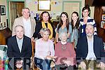Hannah O'Shea, York Terrace, Killarney who celebrated her 101st birthday with her family at her home on Saturday front row l-r: Michael O'Shea, Maureen Ní Fiann, Hannah O'Shea and Jay O'Shea. Back row: Eugene, Magaret, Hannah, Roisin O'Shea and Nancy Robinson