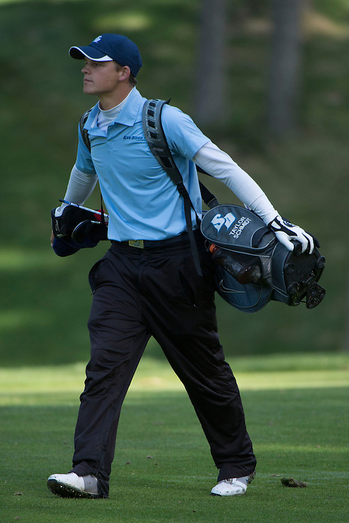 April 16, 2013; Bremerton, WA, USA; San Diego Toreros golfer Taylor Schmidt during the WCC Golf Championships at Gold Mountain Golf Club.