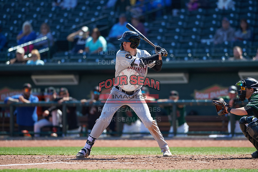 Wisconsin Timber Rattlers Chad McClanahan (9) at bat during a Midwest League game against the Great Lakes Loons at Dow Diamond on May 4, 2019 in Midland, Michigan. Great Lakes defeated Wisconsin 5-1. (Zachary Lucy/Four Seam Images)