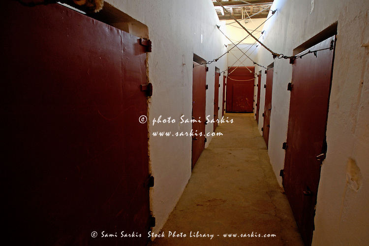 Empty corridor leading to holding pens in a bullfighting ring, Ronda, Andalusia, Spain.