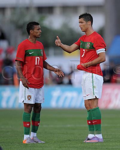 24.05.2010 Portugal versus Cape Verde Cristiano Ronaldo with Nani (POR)