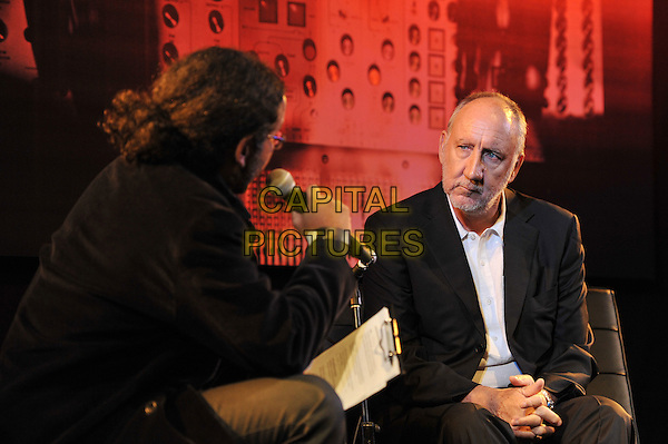 Pete Townshend.'Quadrophenia - The Director's Cut' playback with Q & A and acoustic performance at Bush Hall, Shepherd's Bush, London, England. .9th November 2011.half length sitting interview black suit jacket white shirt beard facial hair .CAP/MAR.© Martin Harris/Capital Pictures.