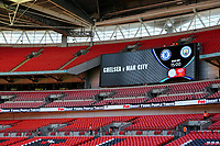 Large scoreboard behind the goal shows the teams playing and kick-off time during Chelsea vs Manchester City, FA Community Shield Football at Wembley Stadium on 5th August 2018