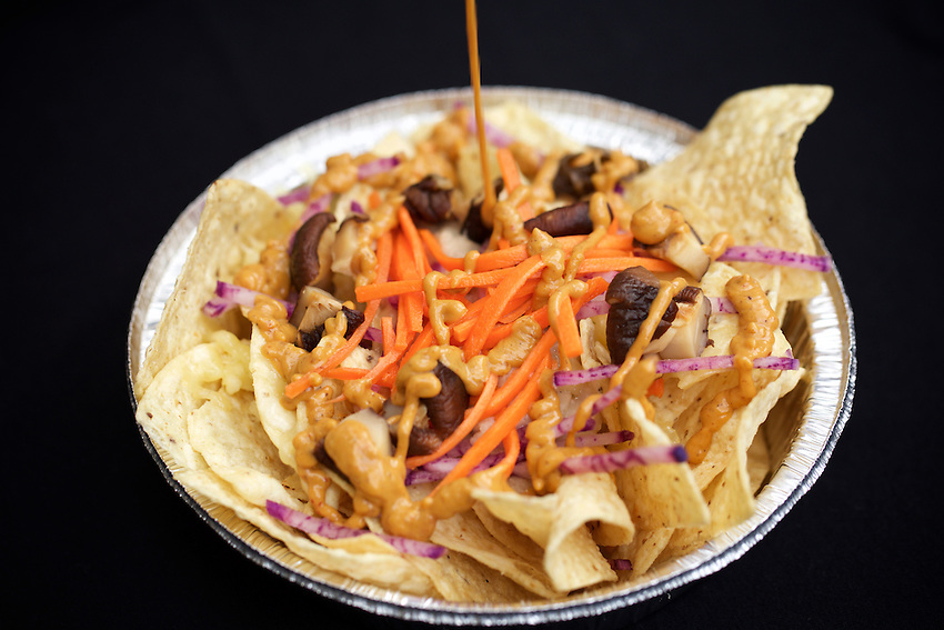 BROOKLYN, NY - March, 1 2017: Vegetarian Nachos by Illuminacho, a new market vendor at Smorgasburg this summer.<br />  <br /> Credit: Clay Williams.<br /> <br /> &copy; Clay Williams / http://claywilliamsphoto.com