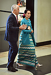 Myanmar's State Counsellor Aung San Suu Kyi (R) walks with Australian Prime Minister Malcolm Turnbull (L) into Parliament House, Canberra, Monday, March 19, 2018. AFP PHOTO/ MARK GRAHAM