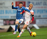 St Johnstone v Ross County...11.08.15...SPFL..McDiarmid Park, Perth.<br /> Michael O'Halloran is blocked by Andrew Davies<br /> Picture by Graeme Hart.<br /> Copyright Perthshire Picture Agency<br /> Tel: 01738 623350  Mobile: 07990 594431
