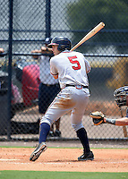GCL Braves designated hitter Luke Dykstra (5) at bat during a game against the GCL Yankees 2 on June 23, 2014 at the Yankees Minor League Complex in Tampa, Florida.  GCL Yankees 2 defeated the GCL Braves 12-4.  (Mike Janes/Four Seam Images)