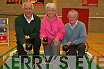 BOWLS AWAY: Killorglin Bowling Club members in action on Friday last, Terry Newham (Chairman), Eileen McGillycuddy (PRO) and Michael O'Sullivan (Treasurer).   Copyright Kerry's Eye 2008