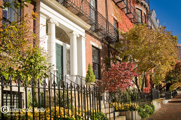 Fall foliage colors the historic architecture on Beacon Hill, Boston, MA