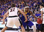 SIOUX FALLS, SD: MARCH 7: Chris Howell #3 of South Dakota State drives toward Daniel Meyer #32 of Omaha during the Men's Summit League Basketball Championship Game on March 7, 2017 at the Denny Sanford Premier Center in Sioux Falls, SD. (Photo by Dick Carlson/Inertia)