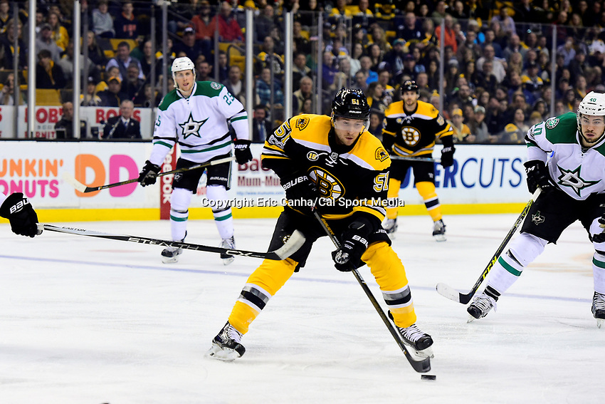 Thursday, March 30, 2017: Boston Bruins center Ryan Spooner (51) in game action during the National Hockey League game between the Dallas Stars and the Boston Bruins held at TD Garden, in Boston, Mass. Eric Canha/CSM