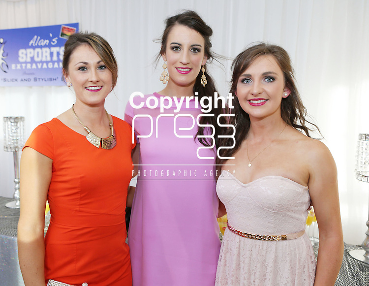 2/8/2014   (with compliments).          Alan's Sport Extravaganza Slick and Stylish Ball in the South Court Hotel, Limerick which was held in memory of Alan Feeley and in aid of the Irish Kidney Association(IKA).  Pictured are Kerry ladies  Aisling Leonard, Castleisland, Emma Sherwood, Farranfore and Cait Lynch, Castleisland..  Picture Liam Burke/Press 22