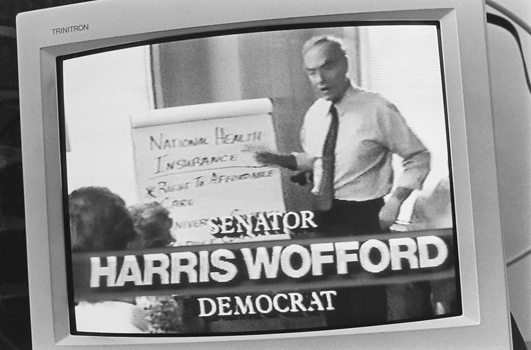 Sen. Harris Wofford, D-Pa., campaigning, Oct. 11, 1991. (Photo by Maureen Keating/ CQ Roll Call via Getty Images)