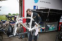 mechanic Steven Van Olmen (BEL) getting André Greipels (DEU/Lotto-Belisol) bike prepped for the much anticipated 'Roubaix-stage' the next day<br /> <br /> 2014 Tour de France<br /> stage 4: Le Touquet-Paris-Plage/Lille Métropole (163km)