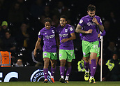 31st October 2017, Craven Cottage, London, England; EFL Championship football, Fulham versus Bristol City; Korey Smith of Bristol City celebrates after scoring his sides 2nd goal in the 40th minute alongside Bobby Reid of Bristol City