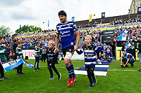 Charlie Ewels of Bath Rugby leads the team out onto the field. Gallagher Premiership match, between Bath Rugby and Wasps on May 5, 2019 at the Recreation Ground in Bath, England. Photo by: Patrick Khachfe / Onside Images