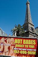 Eiffel tower and Las Vegas Advertising. Las Vegas Nevada.