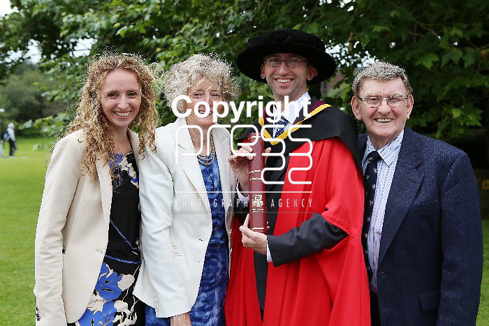 29/August/2012   Attending the university of Limerick Conferrings on Wednesday morning were Dr Emmanuel O'Grady, Ballinacurra, Limerick who was conferred with a Doctorate in Education photographed with his parents Marie and Paschal and sister Eukaria. Photograph Liam Burke/Press 22