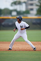 New York Yankees Rashad Crawford (36) leads off second base during an Instructional League game against the Pittsburgh Pirates on September 29, 2017 at the Yankees Minor League Complex in Tampa, Florida.  (Mike Janes/Four Seam Images)