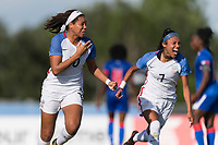 Bradenton, FL - Sunday, June 10, 2018: Mia Fishel, goal celebration, Samantha Meza prior to a U-17 Women's Championship match between the United States and Haiti at IMG Academy.  USA defeated Haiti 3-2 to advance to the finals.