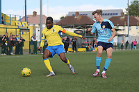 David Olufemi of Haringey during Haringey Borough vs Stanway Rovers, Emirates FA Cup Football at Coles Park Stadium on 25th August 2018