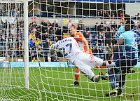Blackpool's Brad Potts' header is saved on the line by Wycombe Wanderers' Jamal Blackman<br /> <br /> Photographer Kevin Barnes/CameraSport<br /> <br /> The EFL Sky Bet League Two - Wycombe Wanderers v Blackpool - Saturday 11th March 2017 - Adams Park - Wycombe<br /> <br /> World Copyright &copy; 2017 CameraSport. All rights reserved. 43 Linden Ave. Countesthorpe. Leicester. England. LE8 5PG - Tel: +44 (0) 116 277 4147 - admin@camerasport.com - www.camerasport.com