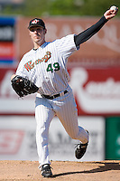 Starting pitcher Aaron Poreda (49) of the Winston-Salem Warthogs. in action versus the Kinston Indians at Ernie Shore Field in Winston-Salem, NC, Saturday, May 17, 2008.