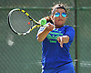 Sydney Levy of Port Washington returns volley during the Nassau County varsity girls' tennis doubles consolation final (third place match) at Eisenhower Park on Sunday, October 18, 2015.<br /> <br /> James Escher