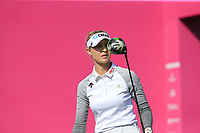 Nelly Korda (USA) tees off the 1st tee during Thursday's Round 1 of The Evian Championship 2018, held at the Evian Resort Golf Club, Evian-les-Bains, France. 13th September 2018.<br /> Picture: Eoin Clarke | Golffile<br /> <br /> <br /> All photos usage must carry mandatory copyright credit (© Golffile | Eoin Clarke)