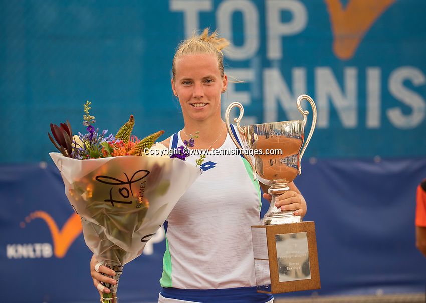 Amstelveen, Netherlands, 1 August 2020, NTC, National Tennis Center, National Tennis Championships,  Womans Final : Richel Hogenkamp (NED) winner  with trophy<br /> Photo: Henk Koster/tennisimages.com