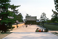 Nara Prefecture: Horyuji Temple Complex, looking east to To-in or East Minster. Photo '82.