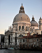 View of the Santa Maria della Salute immediately after sunset from the Gritti Palace Hotel across the Grand Canal in Venice, Italy on Thursday, October 21, 2010..Credit: Ron Sachs / CNP