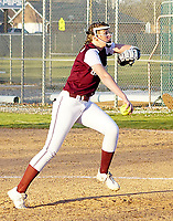 Westside Eagle Observer/RANDY MOLL<br /> Gentry's Kyleigh Wheaton gets ready to throw a pitch to a Har-Ber High School batter during play in Gentry on Thursday (March 5, 2020).
