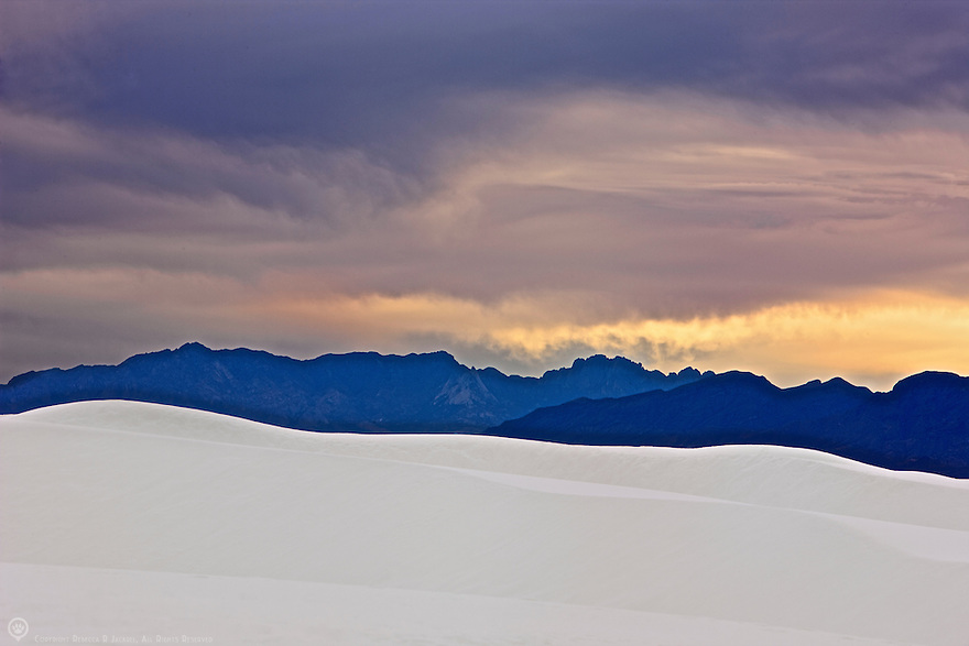 North America, USA, New Mexico, White Sands.  Sunset over the dunes of White Sands National Monument.