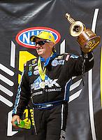 Jul 31, 2016; Sonoma, CA, USA; NHRA funny car driver John Force celebrates after winning the Sonoma Nationals at Sonoma Raceway. Mandatory Credit: Mark J. Rebilas-USA TODAY Sports