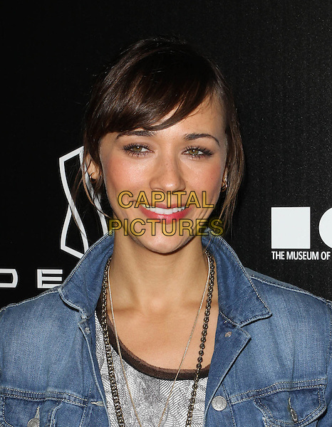 RASHIDA JONES .Grand Opening Of Devon Flagship Store in Beverly Hills held At Devon Store, Beverly Hills, CA, USA, .8th December 2010..portrait headshot fringe smiling denim jacket .CAP/ADM/KB.©Kevan Brooks/AdMedia/Capital Pictures.